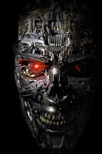 Preview iPhone wallpaper Terminator, robot, face, black background