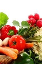iPhone壁紙のプレビュー 野菜、トマト、キノコ、きゅうり、カリフラワー、コショウ