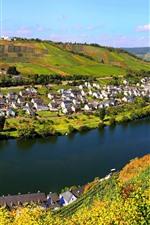 Village, rivière, maisons, pente, champs, campagne