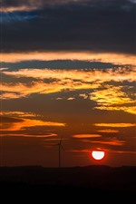 iPhone壁紙のプレビュー 風車、夕焼け、赤い空、雲、シルエット