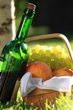 Preview iPhone wallpaper Wine, grapes, peach, basket, grass, sunshine