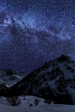 Preview iPhone wallpaper Winter, snow, mountains, night, starry, stars