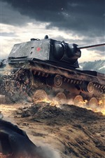 Preview iPhone wallpaper World of Tanks, war, dust, clouds