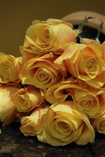 Preview iPhone wallpaper Yellow roses, petals, bouquet, flower close-up