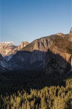 Preview iPhone wallpaper Yosemite National Park, waterfall, mountains, forest, shadow, USA