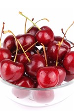 Preview iPhone wallpaper A bowl of cherries, white background