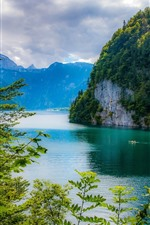 Preview iPhone wallpaper Bavaria, Germany, lake, mountains, trees, green, beautiful scenery