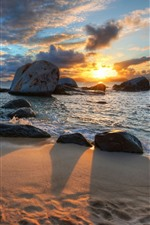 Preview iPhone wallpaper Beach, sands, rocks, sea, sunset, shadow