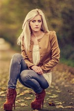 Preview iPhone wallpaper Blonde girl, pose, autumn, hazy