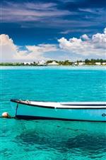 Boat, blue sea, beach, palm trees, clouds