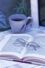 Preview iPhone wallpaper Book, glasses, cup, still life