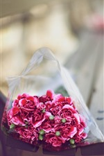 Preview iPhone wallpaper Bouquet, pink carnations, bench