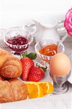 Preview iPhone wallpaper Bread, egg, strawberry, juice, coffee, rose, breakfast