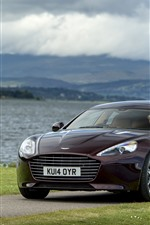 Preview iPhone wallpaper Brown color Aston Martin car, river, grass
