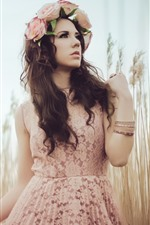 Preview iPhone wallpaper Brown hair girl, wreath, skirt, grass