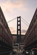 Preview iPhone wallpaper City, buildings, street, cars, bridge, dusk