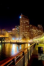 Preview iPhone wallpaper City, river, bench, road, buildings, lights, night
