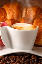 Preview iPhone wallpaper Coffee, cup, foam, flowers, bread, food