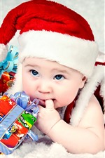 Bebê fofo, chapéu, presentes, Natal