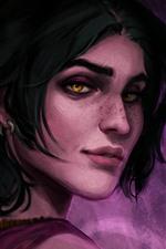 Dragon Age, garota de cabelo curto, olhe para trás