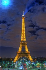 Preview iPhone wallpaper Eiffel Tower, night, moon, lights, city
