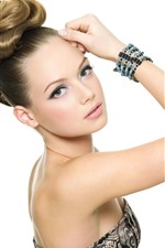 Preview iPhone wallpaper Fashion girl, hair style, pose, white background