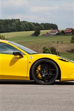 Preview iPhone wallpaper Ferrari 458 yellow supercar side view, countryside