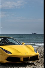 iPhone fondos de pantalla Ferrari 488 superdeportivo amarillo, mar, playa