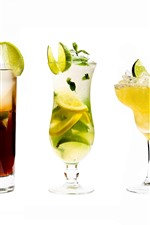 Five cups of cocktails, glass cup, colorful, white background