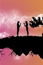 Preview iPhone wallpaper Float island, trees, two girls, silhouette, creative picture