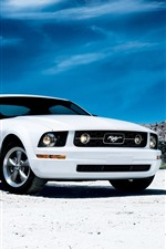 Preview iPhone wallpaper Ford Mustang white car front view