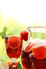 Preview iPhone wallpaper Fruit drinks, kettle, cup, lemon, strawberry, flowers