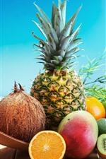 Preview iPhone wallpaper Fruits, pineapple, coconut, avocado, mango, kiwi, orange