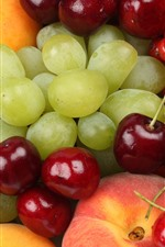 Preview iPhone wallpaper Grapes, cherry, peach, red currants