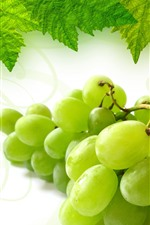 Preview iPhone wallpaper Green grapes, green leaves
