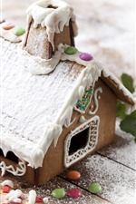 Preview iPhone wallpaper House, snow, cookies, cream, candy, Christmas