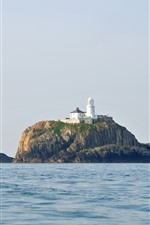 Preview iPhone wallpaper Island, lighthouse, boat, sea
