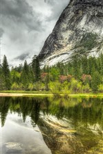 Preview iPhone wallpaper Lake, mountain, water reflection, trees, clouds