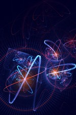 Preview iPhone wallpaper Light curves, plexus, black background, abstract picture
