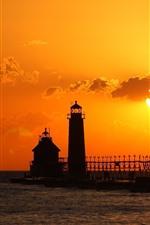 Vorschau des iPhone Hintergrundbilder Leuchtturm, Vögel, Sonnenuntergang, Meer, Silhouette