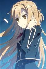 Preview iPhone wallpaper Long hair anime girl, blonde, wind