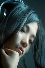 iPhone壁紙のプレビュー 長い髪の女の子、ヘッドフォン