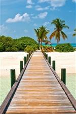 Preview iPhone wallpaper Maldives, tropical, bridge, beach, palm trees, sea
