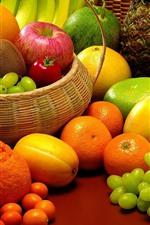 Many kinds of fruits, melon, grapes, oranges, mango, apple, kiwi