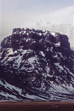 Preview iPhone wallpaper Mountain, snow, rock, fog, winter