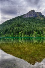 Preview iPhone wallpaper Mountain, trees, green, lake, water reflection, clouds