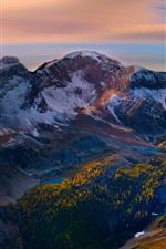 Mountains, peak, snow, trees, dusk