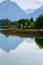Preview iPhone wallpaper Nature landscape, mountains, lake, water reflection, trees, snow