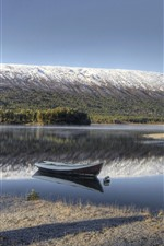 Preview iPhone wallpaper Norway, boat, river, mountain, snow, trees, winter