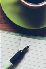 Preview iPhone wallpaper Notebook, pen, coffee, cup, still life